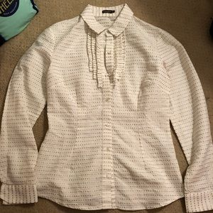 J McLaughlin White and Gold Button Up